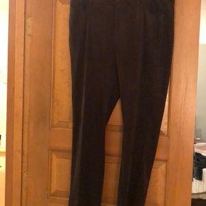 Suede pants with belt loop waist